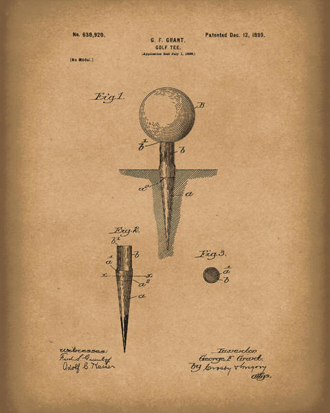 Drawing - Golf Tee 1899 Grant Patent Art Brown by Prior Art Design