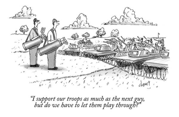 Support Drawing - Golfing Through A Warzone by Tom Cheney