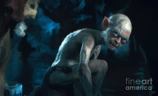 Shower Curtain Painting - Gollum by Paul Tagliamonte