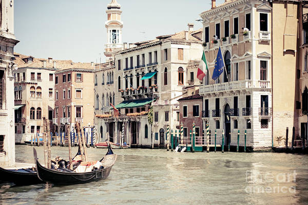 Photograph - Gondola On The Grand Canal By Rialto Bridge In Venice Italy by Raimond Klavins