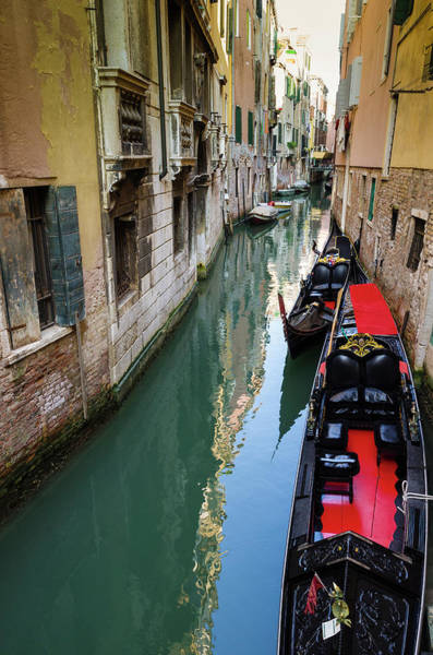 Gondolas And Canal, Venice, Veneto Art Print by Russ Bishop