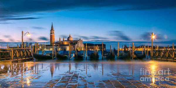 High Water Mark Photograph - Gondolas At Dawn With High Tide - Venice - Italy by Matteo Colombo