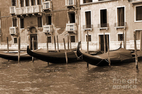 Lion Of St Mark Photograph - Gondolas At Rest by Brenda Kean