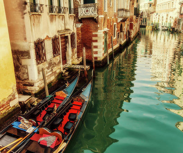 Moored Photograph - Gondolas Moored, Sunlit Buildings And by Lesleygooding