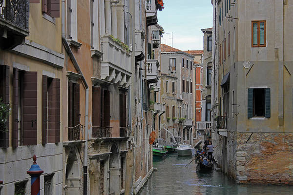 Photograph - Gondolas On Backstreet Canal by Tony Murtagh