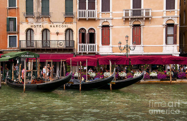 Lion Of St Mark Photograph - Gondolas On The Grand Canal by Brenda Kean