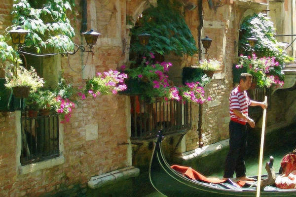 Painting - Gondolier Venice Itl3375 by Dean Wittle