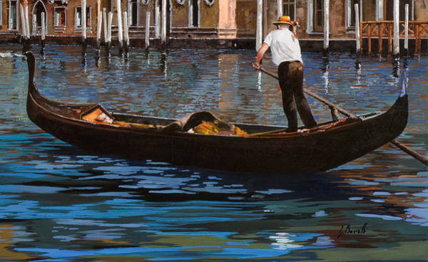 Wall Art - Painting - Gondoliere Sul Canale by Guido Borelli