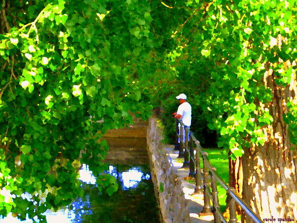 Painting - Gone Fishing Along The Lachine Canal Montreal Urban Landcapes Summer Scenes Carole Spandau Art by Carole Spandau