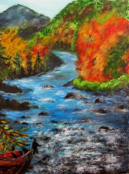Adirondack Mountains Painting - Gone Fishing In Ausable River by Lucille  Valentino