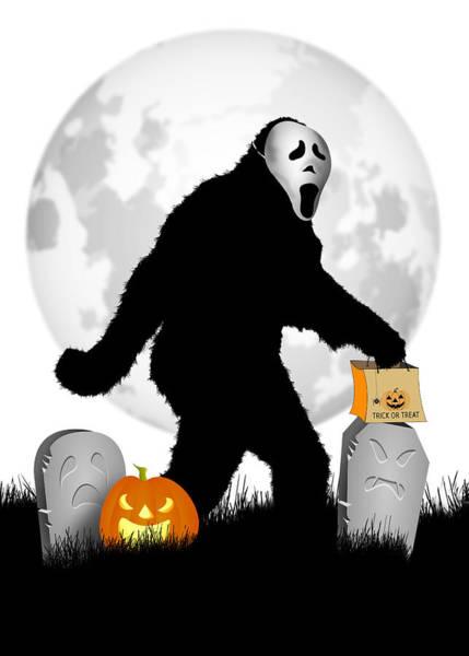 Urban Legend Digital Art - Gone Halloween Squatchin' by Gravityx9 Designs