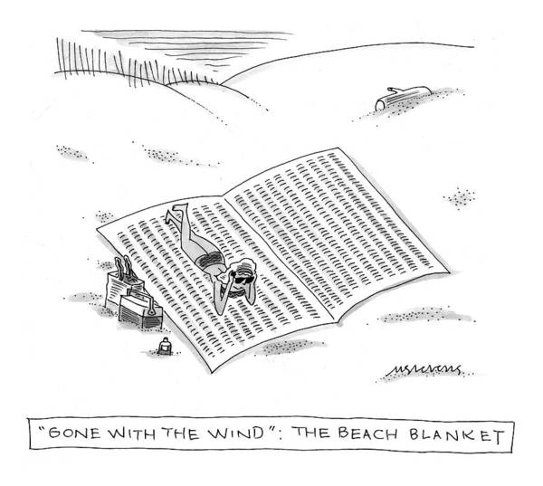 Wind Drawing - Gone With The Wind: The Beach Blanket by Mick Stevens