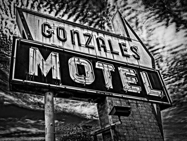 Photograph - Gonzales Motel Sign by Andy Crawford