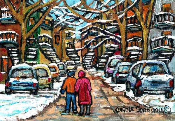 Painting - Good Day In January For Winter Stroll Snowy Trees And Cars Verdun Street Scene Painting Montreal Art by Carole Spandau