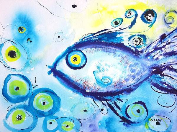 Lucky Charm Painting - Good Luck Fish Abstract by Carlin Blahnik CarlinArtWatercolor