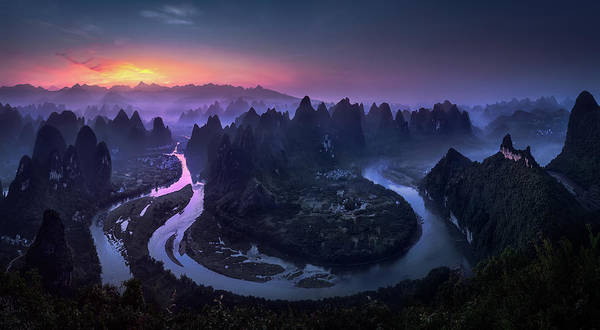 Purple Haze Photograph - Good Morning From Damianshan - China by Jes?s M. Garc?a