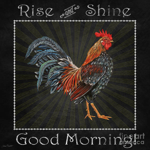 Jeans Mixed Media - Good Morning Rooster-jp2614 by Jean Plout