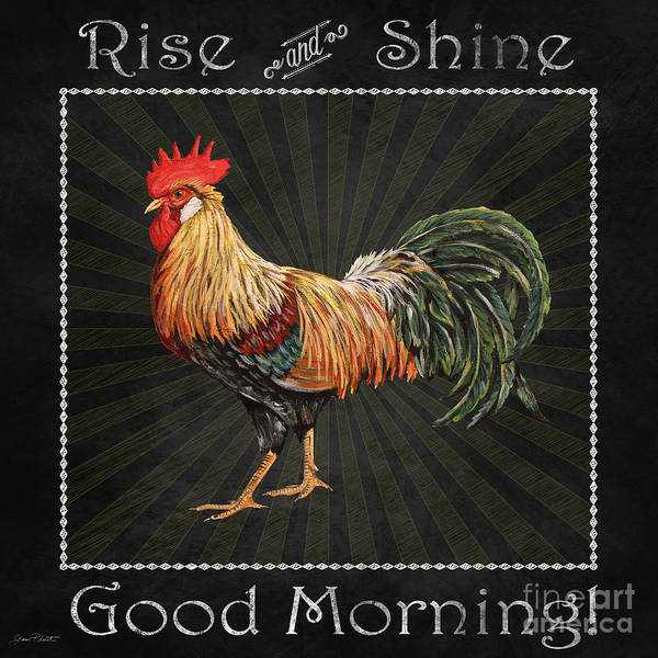 Jeans Mixed Media - Good Morning Rooster-jp2615 by Jean Plout