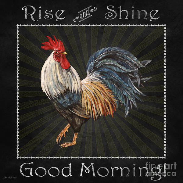 Jeans Mixed Media - Good Morning Rooster-jp2617 by Jean Plout