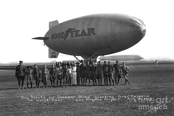 Photograph - Good Year Blimp Volunteer Guarding The Graft Zeppelin Los Angeles Aug. 26 1929 by California Views Archives Mr Pat Hathaway Archives