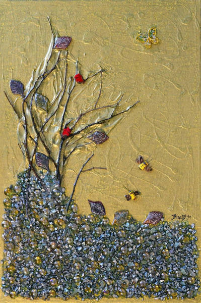 Cardinal Mixed Media - Goodbye October by Donna Blackhall