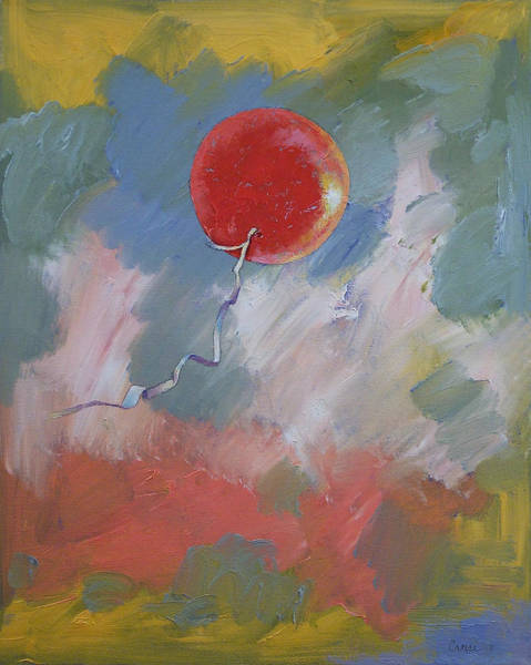 Ballons Wall Art - Painting - Goodbye Red Balloon by Michael Creese