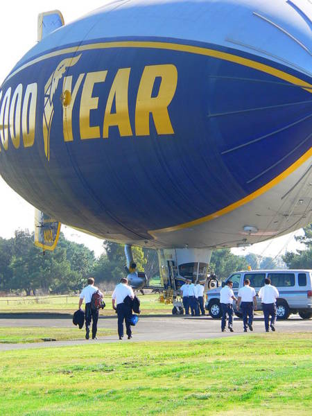 Photograph - Goodyear Blimp Pilots And Crew by Jeff Lowe