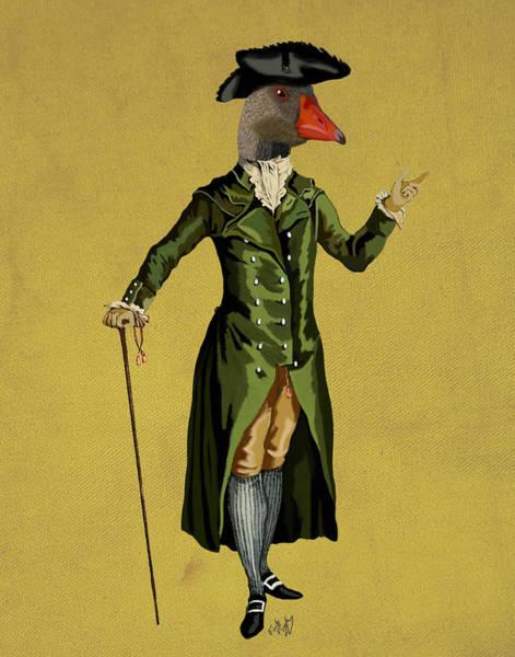 Goose Digital Art - Goose In Green Coat by Kelly McLaughlan