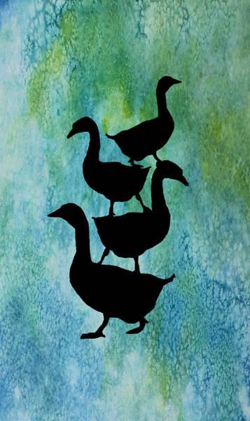 Elegant Mixed Media - Goose Pile On Aqua by Jenny Armitage