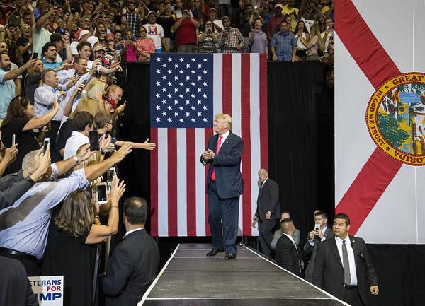 Gop Presidential Nominee Donald Trump Holds Rally In Jacksonville, Florida Art Print by Mark Wallheiser