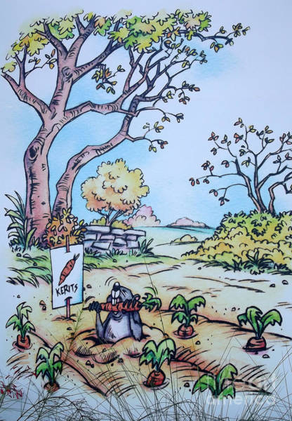 Groundhog Painting - Gopher Eating The Kerits - Fantasy by Linda Rae Cuthbertson