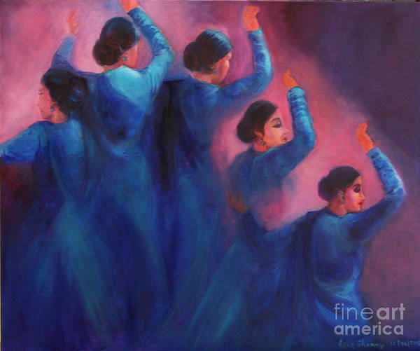 Painting - Gopis Dancing In The Dusk by Asha Sudhaker Shenoy