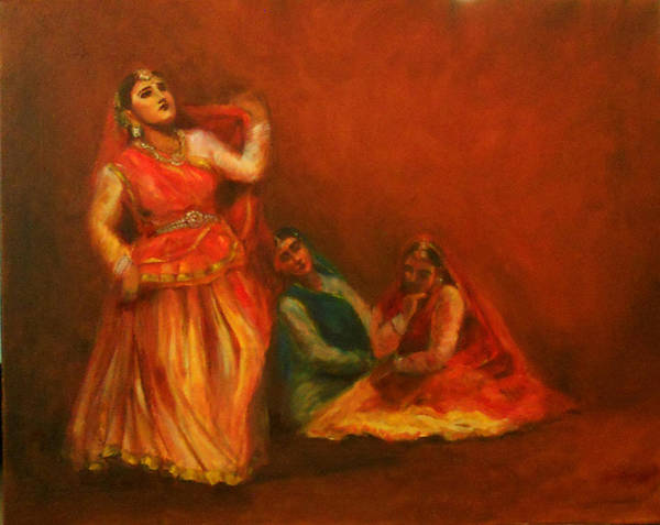 Painting - Gopis Distressed As Krishna Is Not Seen by Asha Sudhaker Shenoy