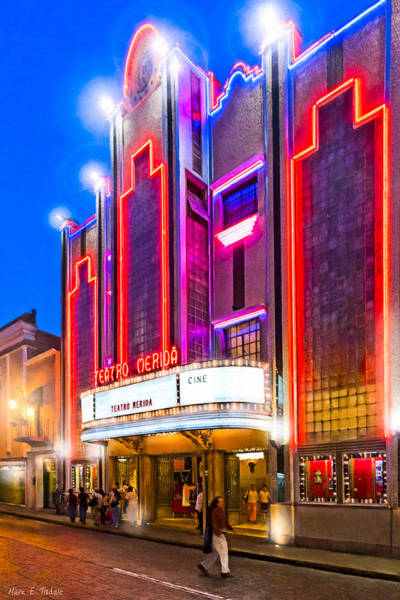 Photograph - Gorgeous Art Deco Theater In Merida - Mexico At Night by Mark Tisdale