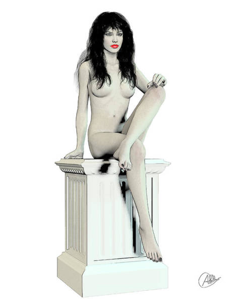 Female Nude Digital Art - Young Woman Naked by Quim Abella