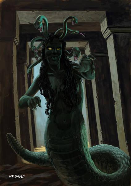 Wall Art - Painting - Gorgon Medusa by Martin Davey