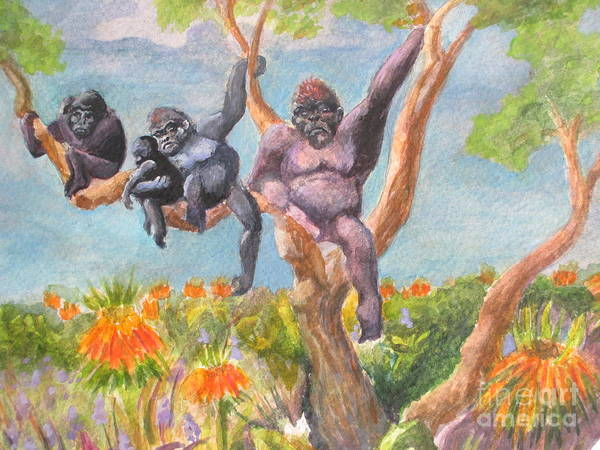 Baby Gorilla Painting - Gorilla Family With Orange Flowers by Lynn Maverick Denzer