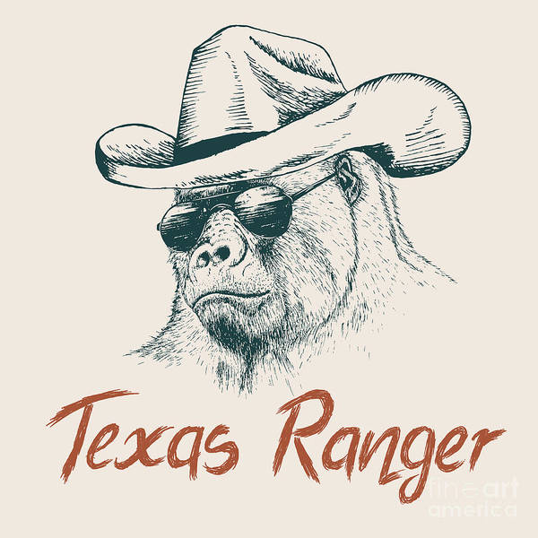 Emblem Wall Art - Digital Art - Gorilla Like A Texas Ranger Dressed In by Dimonika