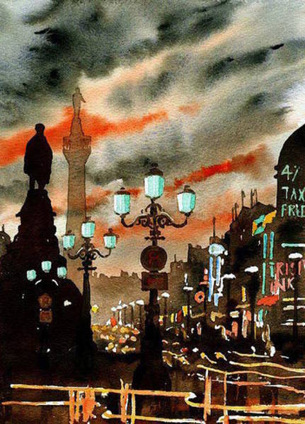 Painting - Gost Of Nelson  Dublin by Val Byrne