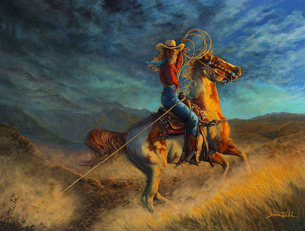Roping Painting - Gotcha by Donna  Hillman Walsh
