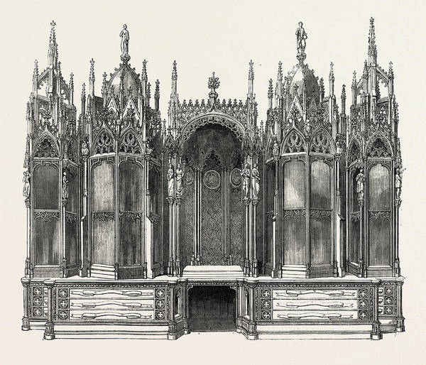 Wall Art - Drawing - Gothic Bookcase by Leistler, English, 19th Century