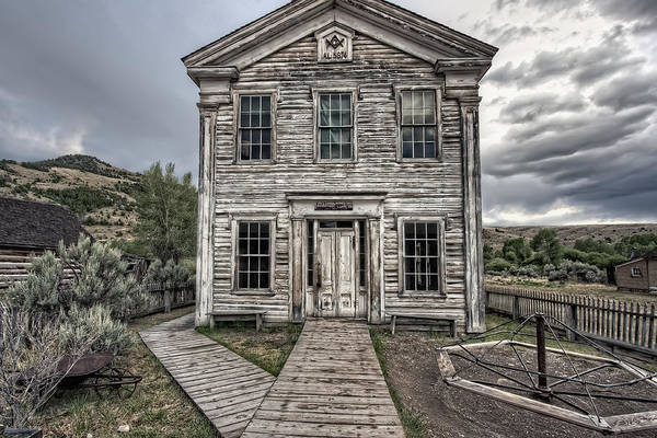 Wall Art - Photograph - Gothic Lodge And School  - Bannack Montana Ghost Town by Daniel Hagerman