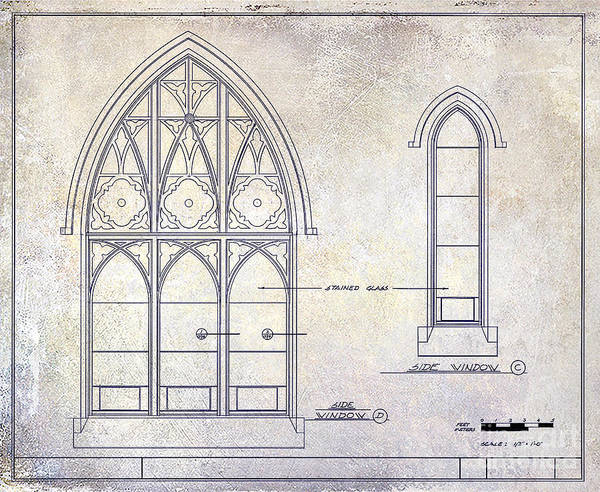 Window Drawing - Gothic Window Detail by Jon Neidert