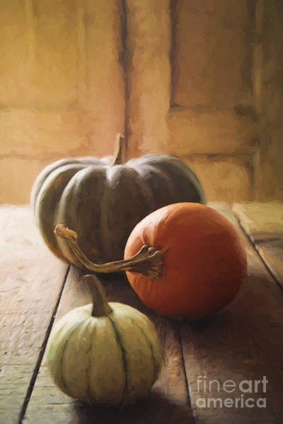 Photograph - Gourds And Pumpkin On Kitchen Table/ Digital Painting by Sandra Cunningham