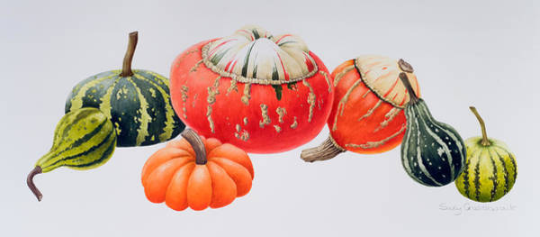 Veggies Painting - Gourds by Sally Crosthwaite