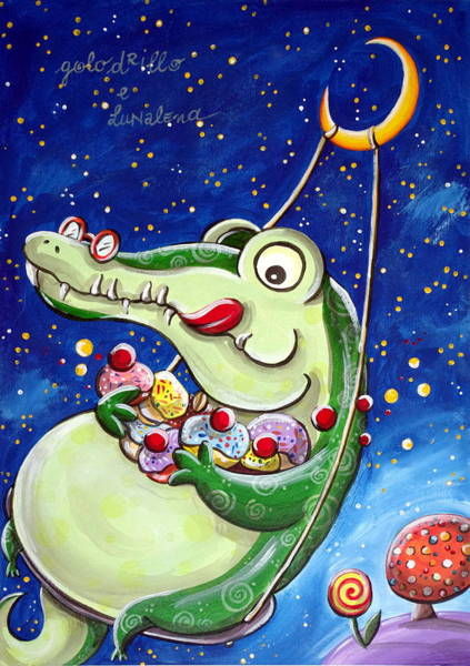 Fairy Cakes Painting - Gourmand Crocodile by Loris Bagnara