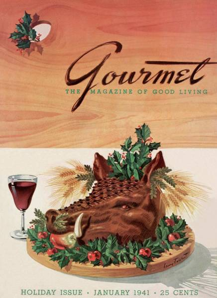 Alcoholic Drink Photograph - Gourmet Cover Featuring A Boar's Head by Henry Stahlhut