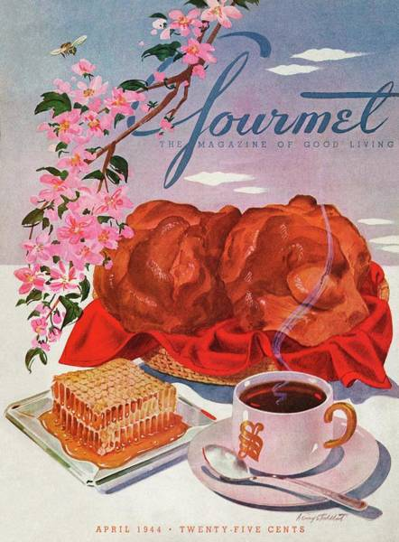 Bees Photograph - Gourmet Cover Illustration Of A Basket Of Popovers by Henry Stahlhut