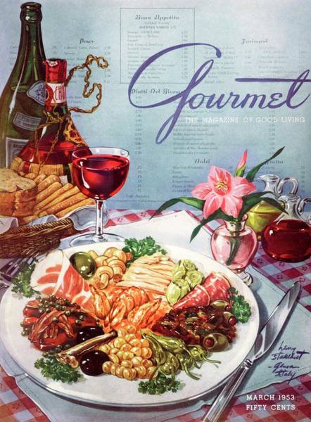 Italian Wine Photograph - Gourmet Cover Illustration Of A Plate Of Antipasto by Henry Stahlhut