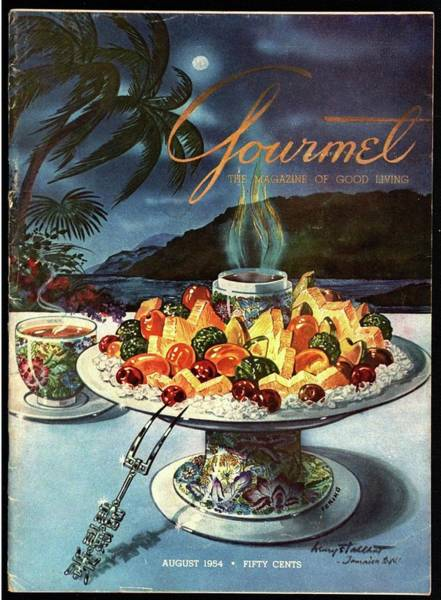Floral Photograph - Gourmet Cover Illustration Of Fruit Dish by Henry Stahlhut